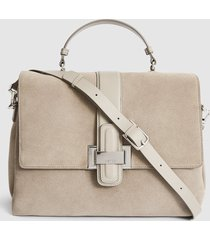 reiss mae - suede shoulder bag in taupe, womens