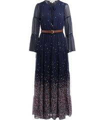 long voile dress with print