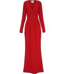suknia z paskiem czerwona