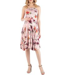 24seven comfort apparel sleeveless floral maternity midi dress