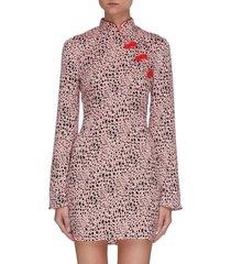 cleo' leopard print flare long sleeve satin cheongsam satin mini dress