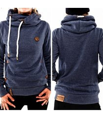 women autumn long sleeve heaps collar hooded hoodies draw cord pocket pullover