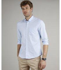 camisa masculina comfort fit listrada com bolso manga longa azul