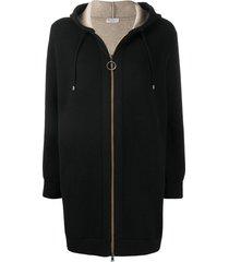brunello cucinelli long drawstring hoodie - black
