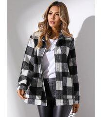 yoins abrigo de manga larga con dos bolsillos grandes a cuadros negros