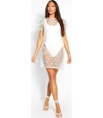 tall polka dot organza mini smock dress, mint