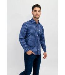 camisa azul pato pampa corte ejecutivo cuadros marino