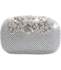 bolsa clutch liage bordada cristal pedraria strass brilho metal prata - kanui