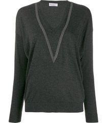 brunello cucinelli v-neck sweatshirt - grey