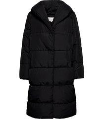 violana puff long jacket/l gevoerde lange jas zwart vila