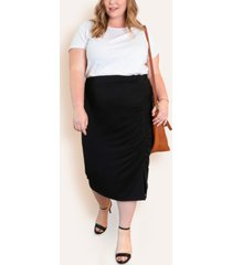 ori women's plus size french terry pencil skirt