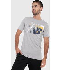 camiseta gris-multicolor new balance classic heritage