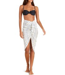 veronica beard annalise sarong cover-up skirt, size large in blue multi at nordstrom