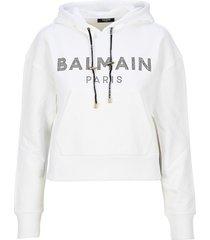 balmain logo print cropped hoodie