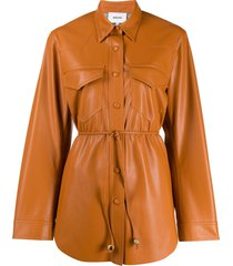 nanushka eddy vegan leather belted shirt - orange