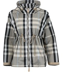 check print hooded jacket, dusty sand