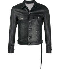rick owens drkshdw coated cotton jacket - black