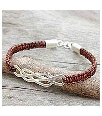 leather and sterling silver braided bracelet, 'forever entwined' (thailand)