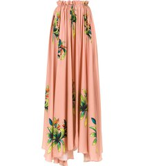 amir slama long silk skirt - neutrals