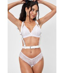 womens o-ring it on faux leather harness belt - white