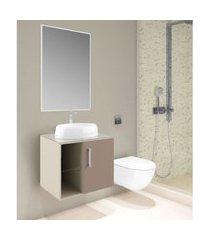 conjunto banheiro suspenso nude e taupe lilies móveis