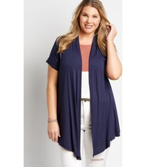 maurices plus size womens navy short sleeve open front cardigan blue