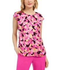 kasper floral-print cap-sleeve keyhole woven top