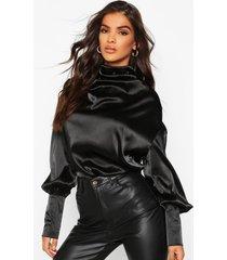satin high neck oversized blouse, black