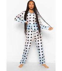 satijnen ombre pyjama set met broek en stippen, multi