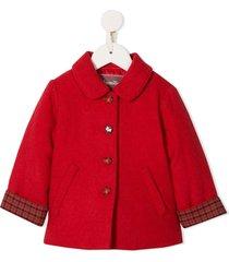 familiar checked cuff coat - red