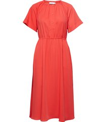 gathered waist dress ss jurk knielengte rood calvin klein