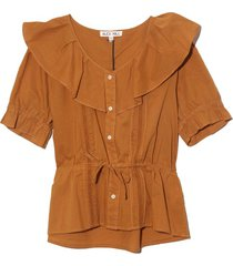 ruffle neck blouse in camel