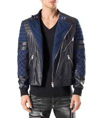 men handmade black blue leather bomber jacket, biker designer trendy fashion jac
