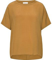 tonga silk top t-shirts & tops short-sleeved geel second female
