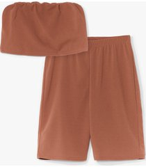 womens hello friday bandeau crop top and biker shorts set - camel