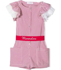 monnalisa pink and white cotton-blend playsuit