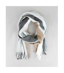 cachecol feminino listrado com franjas off white