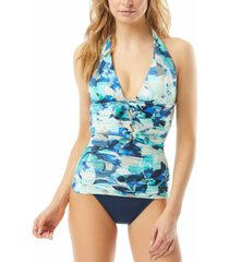 carmen marc valvo printed ruched halter tankini top women's swimsuit