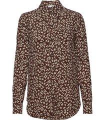 printed crepe overhemd met lange mouwen bruin ganni