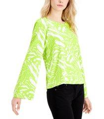 alfani printed wide ruffled-sleeve blouse, created for macy's