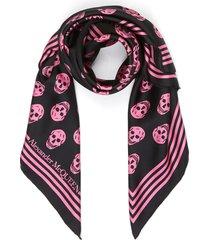 all-over skull print silk scarf