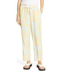women's atm anthony thomas melillo palm print silk charmeuse pants, size medium - blue