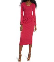 women's fraiche by j pleat waist long sleeve midi dress, size medium - red