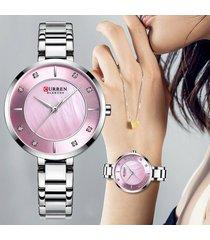 reloj rosado dama elegante analogo curren cristal diamante