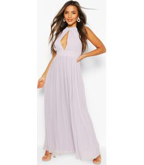 petite occasion pleated panel detail maxi dress, grey