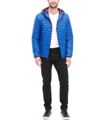 tommy hilfiger men's brick quilted hooded packable jacket