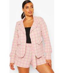 plus small flannel shawl collar oversized blazer, stone