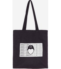 womens nasty gals do it better graphic tote bag - black