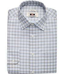 joseph abboud olive & blue check modern fit dress shirt