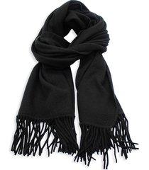 portolano women's fringed cashmere scarf - heather deep navy